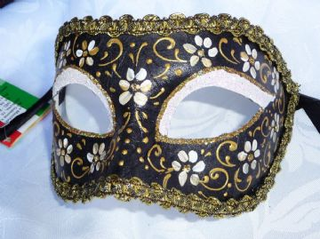Genuine Venetian Black & Gold Flower half Mask (1) (1)